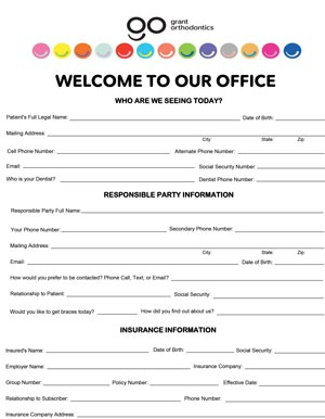grant orthodontics new patient form
